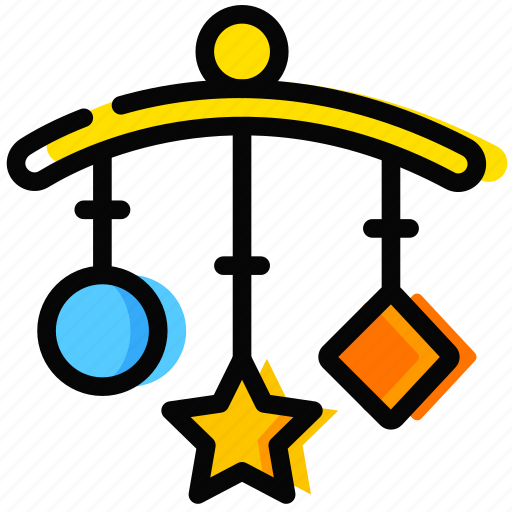 child, clinkers, sleep, toy, yellow icon