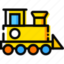 child, toy, train, yellow icon