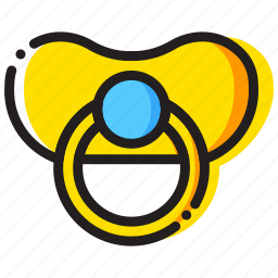 baby, child, pacifier, toy, yellow icon