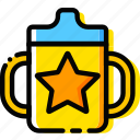 child, cup, feeding, toy, yellow icon