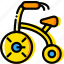 baby, child, toy, tricycle, yellow icon