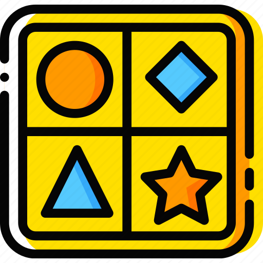 child, game, shape, toy, yellow icon