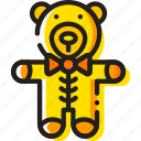 baby, child, teddybear, toy, yellow icon