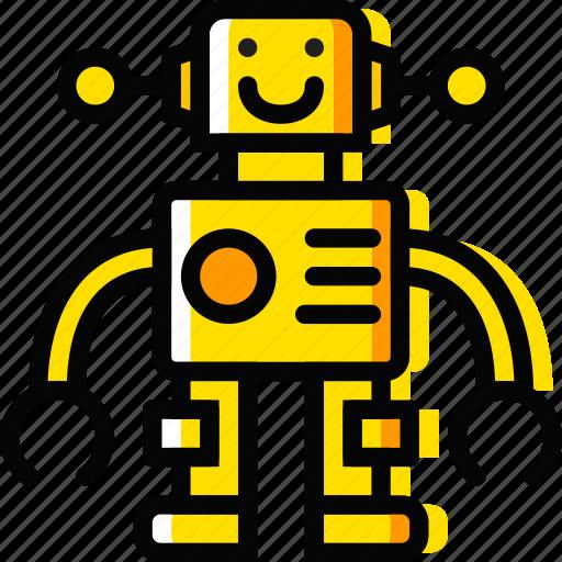 child, robot, toy, yellow icon