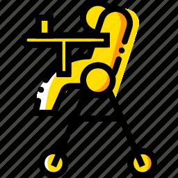 chair, child, feeding, toy, yellow icon