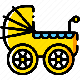 baby, child, stroller, toy, yellow icon