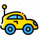 car, child, toy, yellow icon