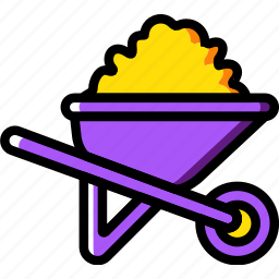 building, construction, tool, wheelbarrow, work icon