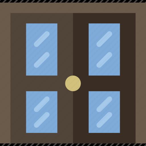 building, construction, door, double, tool, work icon