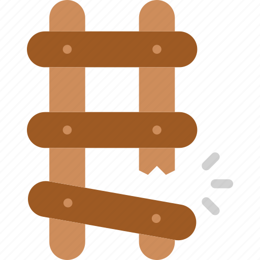 Building, ladder, work, broken, construction, tool icon