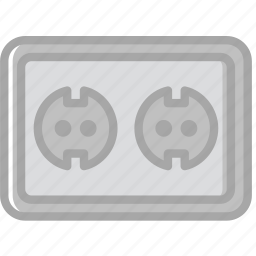 building, construction, double, eu, socket, tool, work icon