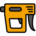 building, construction, gun, nail, tool, work icon