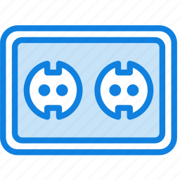 building, construction, double, eu, socket, tool, work icon
