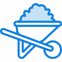 building, construction, tool, wheelbarrow, work icon