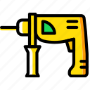 building, construction, drill, tool, work icon
