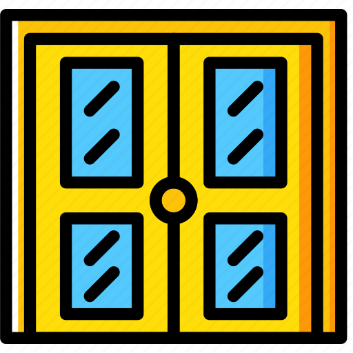 building, construction, door, double, tool, work icon