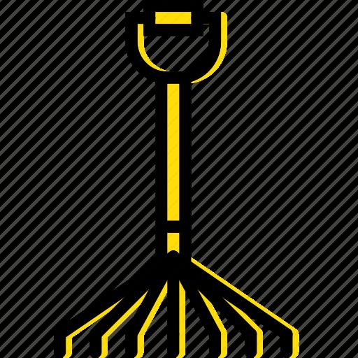building, construction, grass, rake, tool, work icon