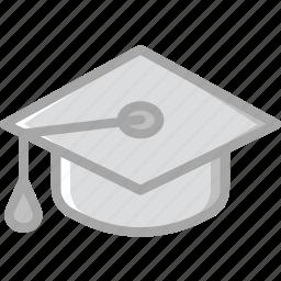 cap, education, graduation, knowledge, learning, study icon