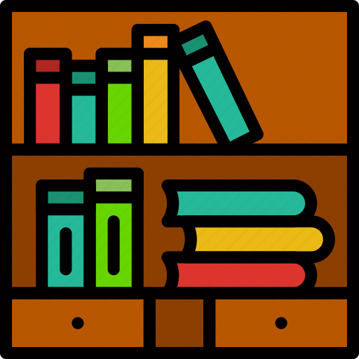 bookcase, education, knowledge, learning, study icon