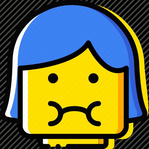 emoji, emoticon, face, girl, sick icon