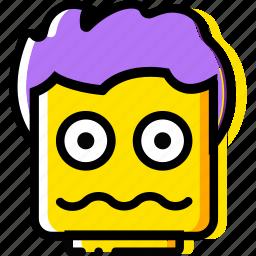 emoji, emoticon, face, scared icon