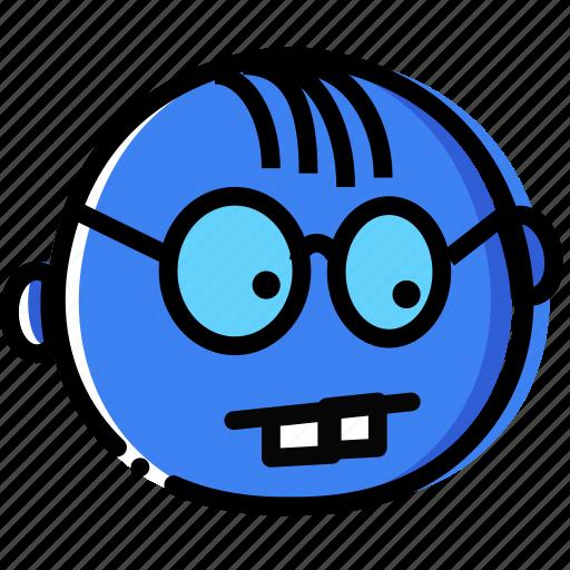 emoji, emoticon, face, geeky icon