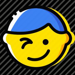 emoji, emoticon, face, wink icon