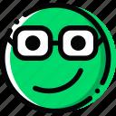 emoji, emoticon, face, nerd
