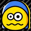 emoji, emoticon, face, scared