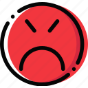 angry, emoji, emoticon, face icon