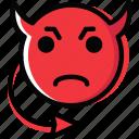 emoji, emoticon, evil, face