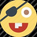 emoji, emoticon, face, pirate icon