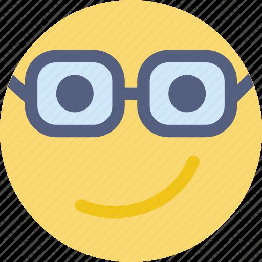 emoji, emoticon, face, nerd icon