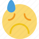 emoji, emoticon, face, grieved icon