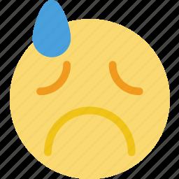 emoji, emoticon, face, grieved icon