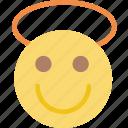 emoticon, emoji, angel, face
