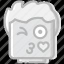 emoji, emoticon, face, flirt icon