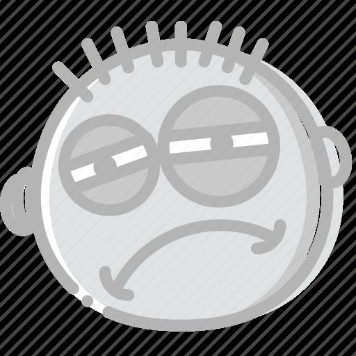 emoji, emoticon, face, tired icon