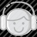 emoji, emoticon, face, listening icon