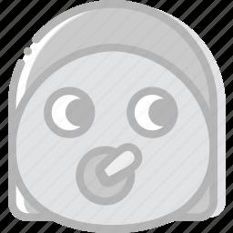 baby, emoji, emoticon, face, girl icon