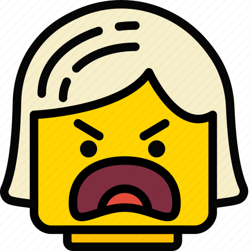 angry, emoji, emoticon, face, girl icon