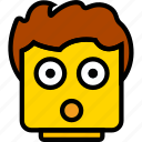 emoji, emoticon, face, surprised icon