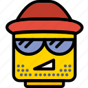 emoticon, emoji, hipster, face