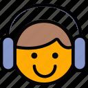 emoji, emoticon, face, listening