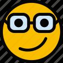 emoticon, emoji, nerd, face