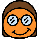 emoji, emoticon, face, nerdy icon