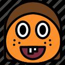 emoticon, emoji, ginger, face