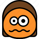 emoji, emoticon, face, scared icon