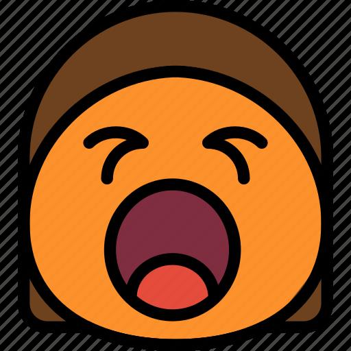 emoji, emoticon, face, screaming icon