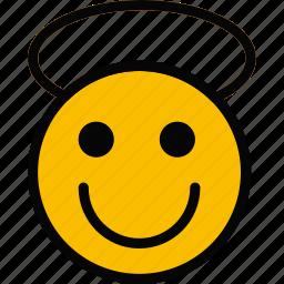 angel, emoji, emoticon, face icon